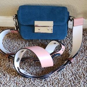 Zara Basics Mini Bag. Teal blue color.